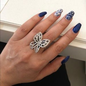 Beautiful Silver Butterfly  AAA CZ's Pave Ring